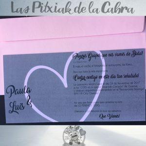 Invitaciones de boda corazón en rosa y gris