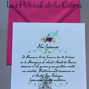 Invitaciones de boda con sobre fucsia