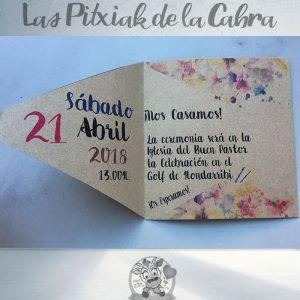 Invitaciones de boda con estampado en papel kraft