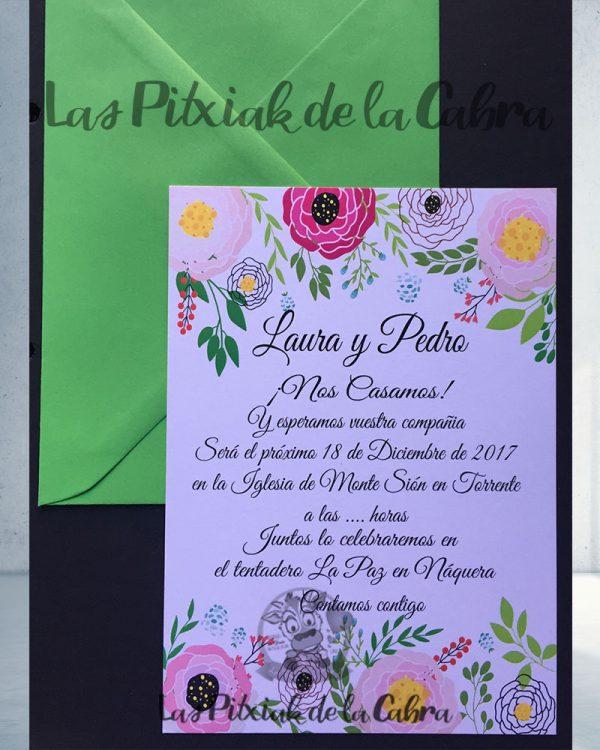 Invitaciones de boda flores grandes
