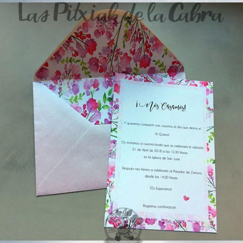 Invitaciones de boda con flores lila y morado