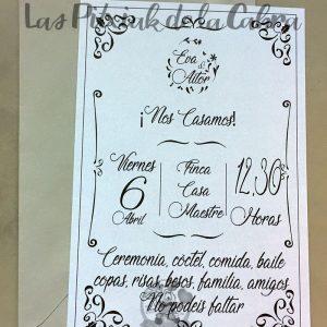Invitaciones de boda en blanco y negro
