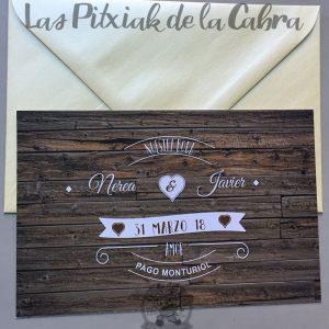 Invitaciones de boda madera vintage
