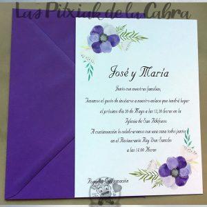 Invitaciones de boda flor morada