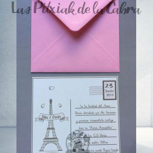 Invitaciones de boda postal paris