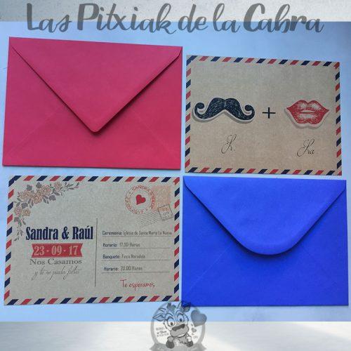 Invitaciones de boda postal bigote y labios