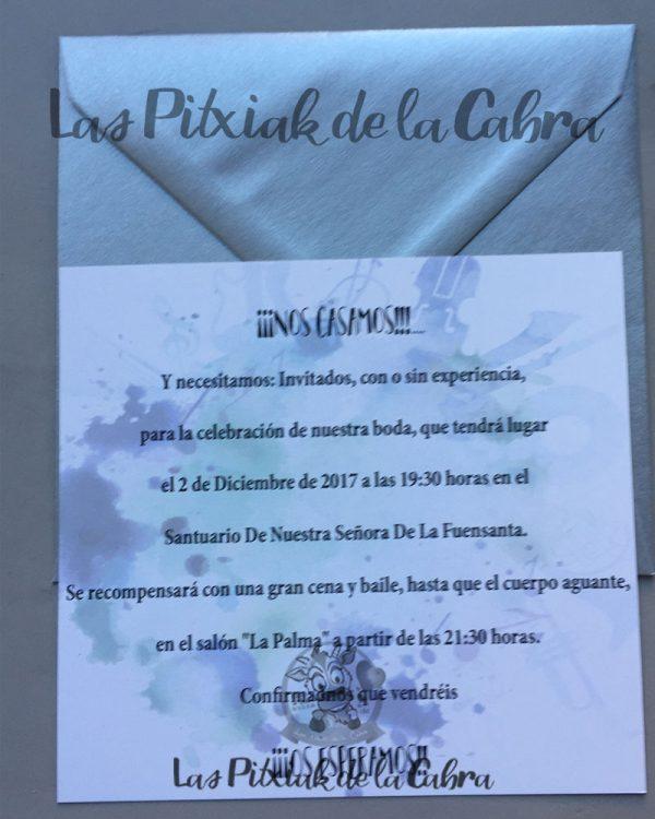 Invitaciones de boda rockera