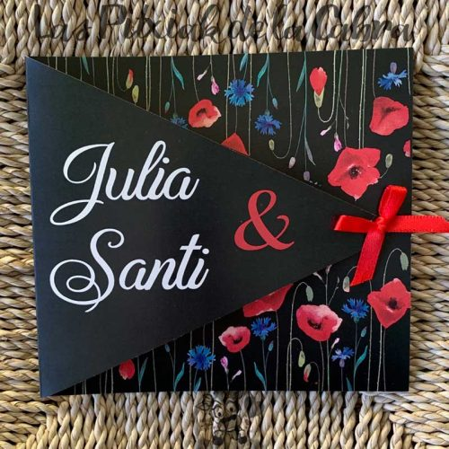 Invitaciones de boda en negro y flores silvestres
