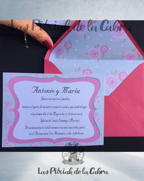 Invitaciones de boda romántica