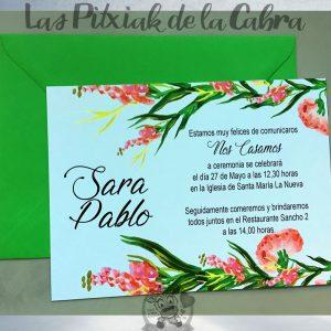 Invitaciones de boda flores alargadas
