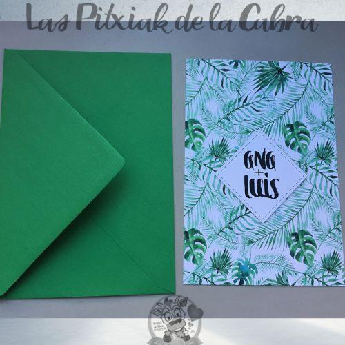 Invitaciones de boda estampado tropical verdes