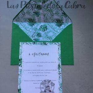 Invitaciones de boda con sobre forrado plantas tropicales
