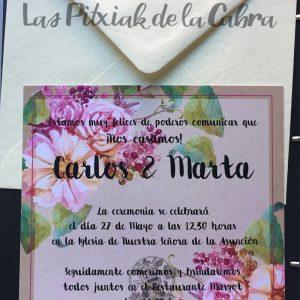 Invitaciones de boda clásica con uvas y flores