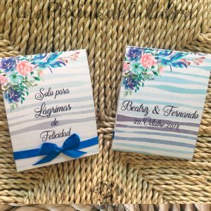 Lágrimas de felicidad pañuelos para bodas con estampado azul