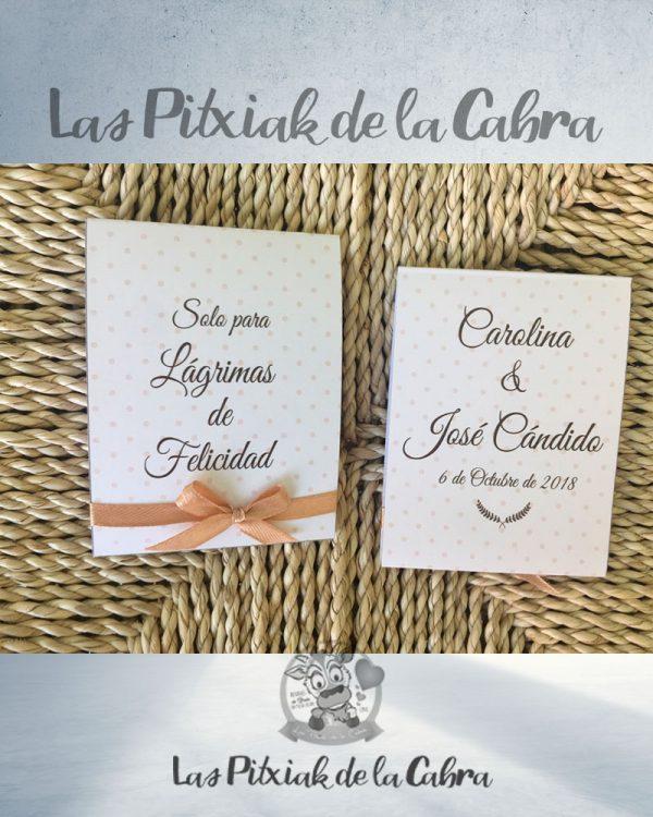 Pañuelos para boda lágrimas de felicidad con lunares beige