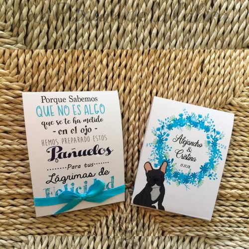Pañuelos para boda lágrimas de felicidad con bulldog francés en azul