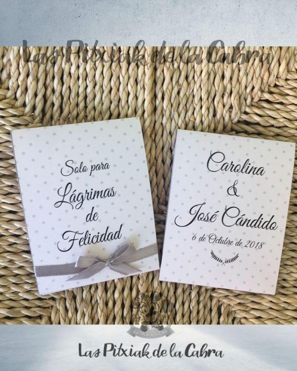 Pañuelos para boda lágrimas de felicidad lunares grises