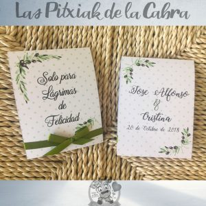 Pañuelos para boda lágrimas de felicidad olivo y aceitunas
