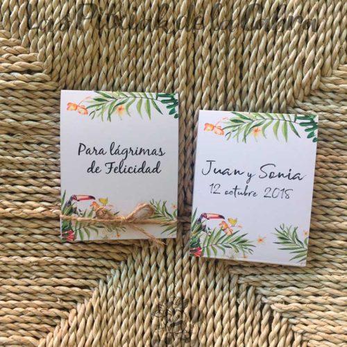 Pañuelos para boda lágrimas de felicidad tropical tucán