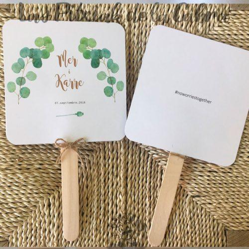 Pai pai para bodas con ramitas verdes