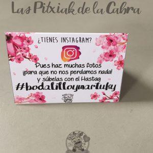 Cartel para bodas con hastag instagram