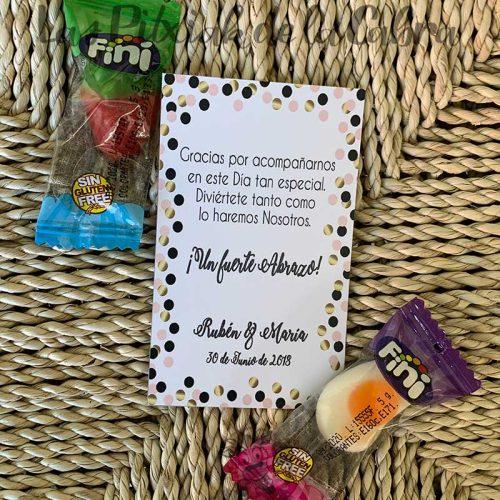 Tarjeta de agradecimiento para bodas con gominola círculos