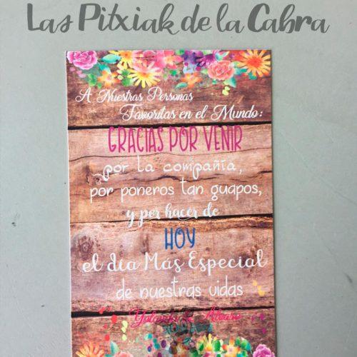tarjetas de agradecimiento para bodas con fondo de madera y acuarela