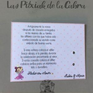 Tarjeta para alfileres con leyenda novia flamenca