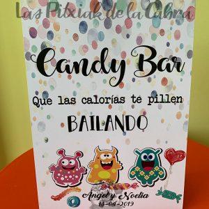 Cartel candy bar con calorías monísimas