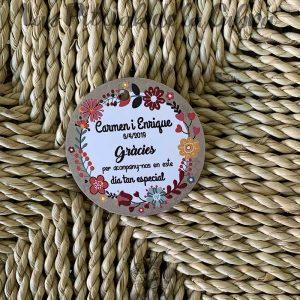 Etiqueta de detalles de boda en valenciano
