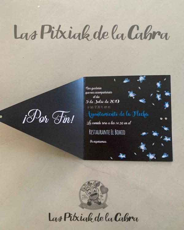 Invitación de boda negra