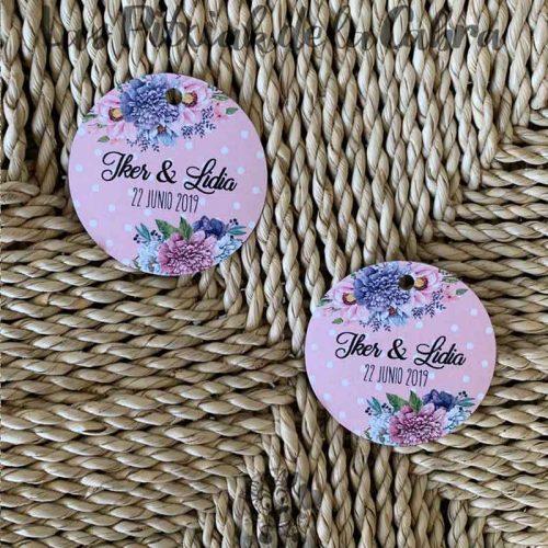 Etiquetas para detalles de boda con lunares rosas y flores