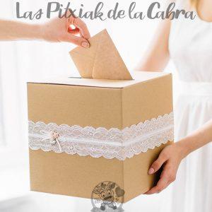 Caja para sobres de boda con encaje kraft