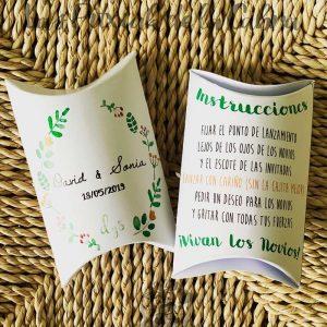 Cajitas para arroz de bodas con diseño verde y amarillo