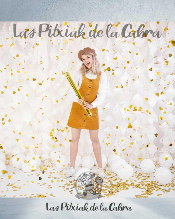 Cañón de confetti dorado