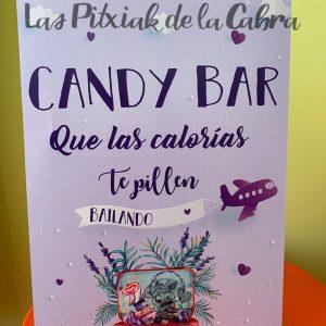 Cartel para candy bar que las calorías te pillen bailando viajero