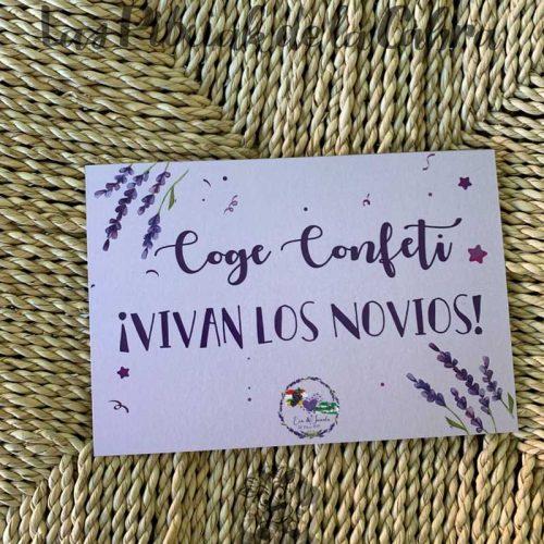 Cartel confeti boda con lavanda