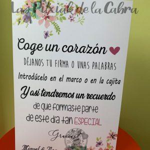 Cartel para árbol de huellas boda