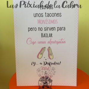 Cartel para alpargatas boda