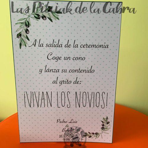 Cartel para bodas con texto para que lances los conos en tu boda