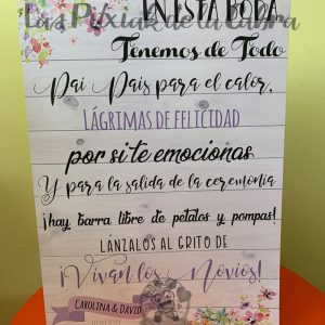 Cartel para bodas con texto de tenemos de todo