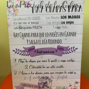 Cartel para bodas con texto para las chapas