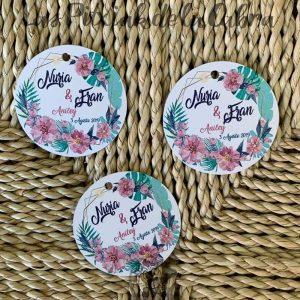 Etiquetas para detalles de boda con flores