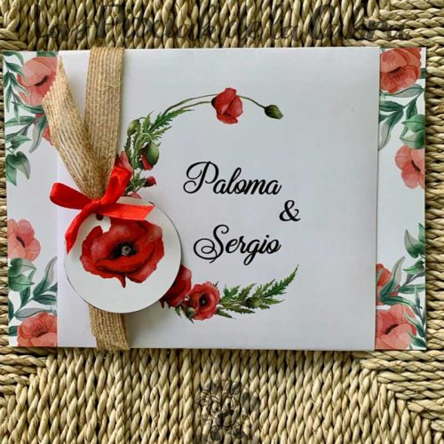 Invitación de boda roja amapolas