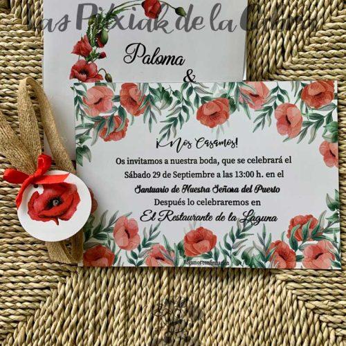 Invitación para boda estampada en amapolas