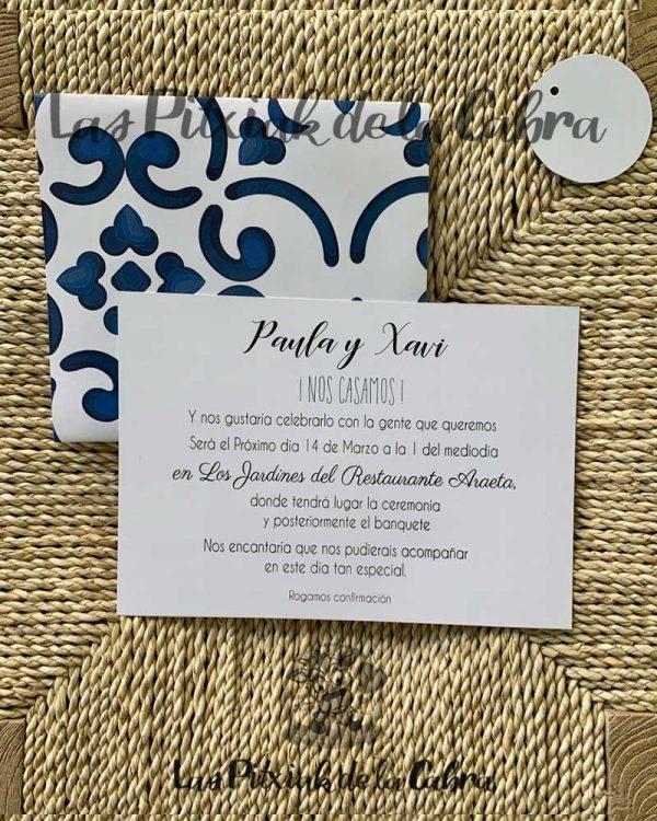 Invitación de bodas diseño de porcelana