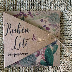 Invitaciones de boda en papel kraft con cactus