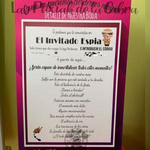 Cartel para boda con juego del invitado espía