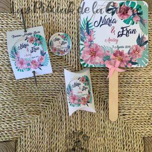 Kit para bodas con pai pai, bengala, cajita y etiqueta