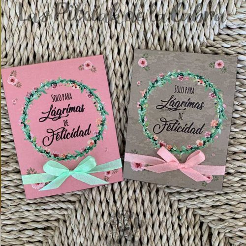 Pañuelos para boda lágrimas de felicidad en dos colores